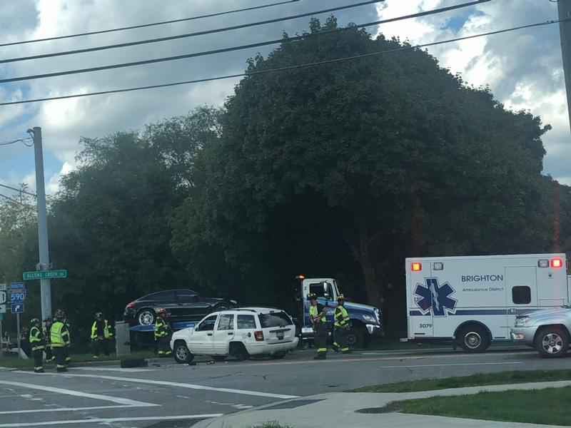 Emergency vehicles respond to crash on Allens Creek Road