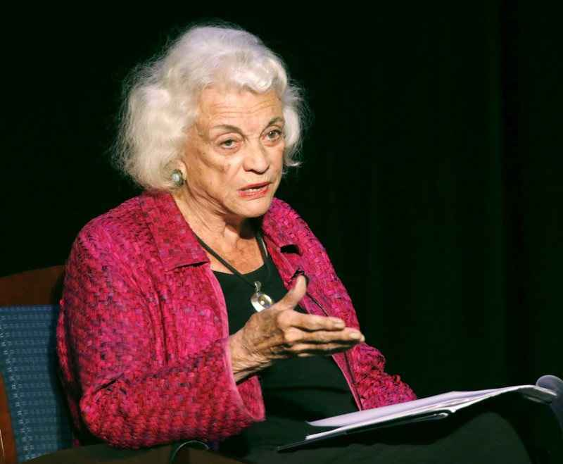 In this Sept. 17, 2014 file photo, retired U.S. Supreme Court Justice Sandra Day O'Connor speaks during a lecture, in Concord, N.H.