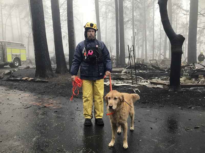 Rain helps douse California fire but slows search crews