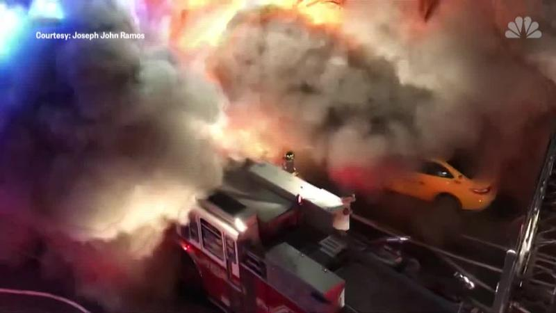 Explosion injures seven firefighters and five civilians during 5-alarm New York City fire