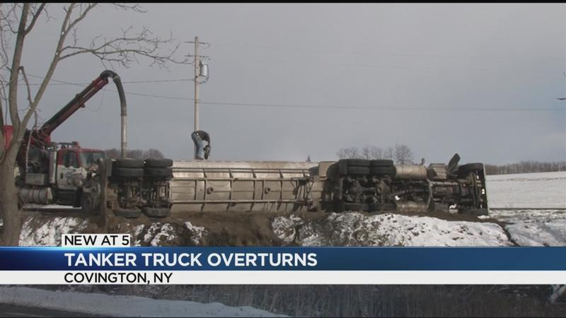Overturned tanker truck spills nearly 5K gallons of manure