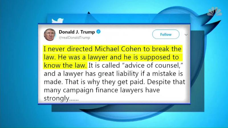 Trump: 'I never directed' ex-lawyer to break the law