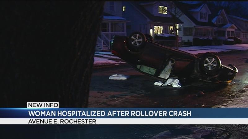 Woman hospitalized following Avenue E rollover