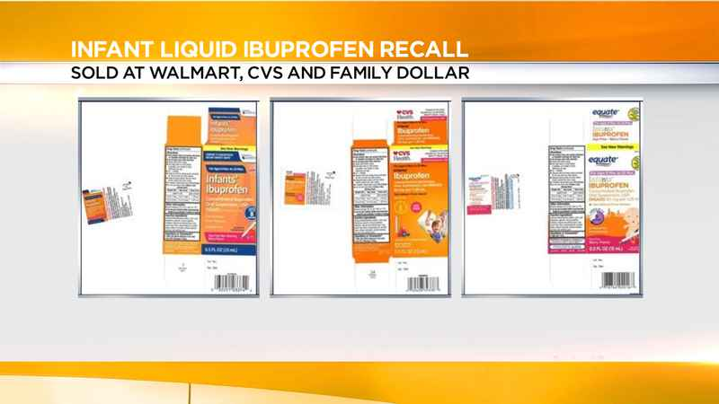 Infant ibuprofen sold at Walmart, CVS, Family Dollar recalled over dosage concerns
