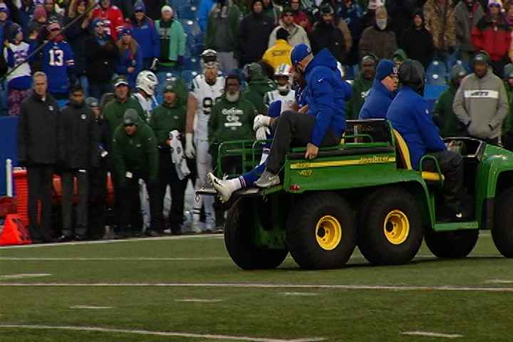 Matt Milano leaves the field on a cart after his injury against the Jets.