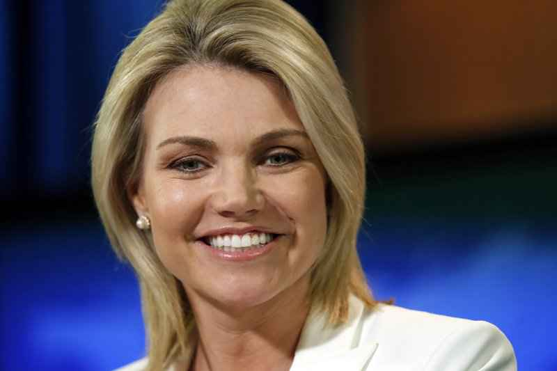 State Department spokeswoman Heather Nauert speaks during a briefing at the State Department in Washington.
