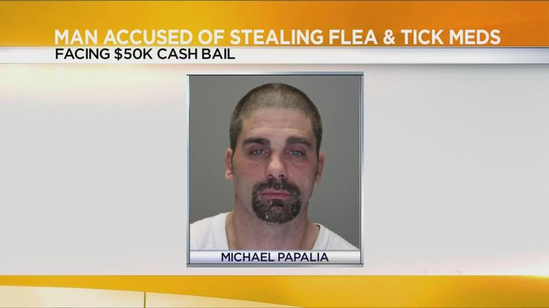 $50K bail set for man accused of stealing flea & tick medicine