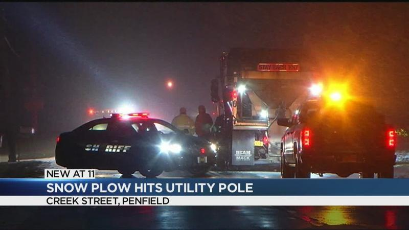Snow plow takes down utility pole in Penfield
