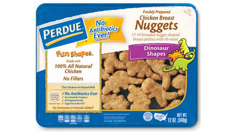 PERDUE®FUN SHAPES® REFRIGERATED BREADED CHICKEN BREAST NUGGETS, DINOSAUR SHAPES (12 OZ.)