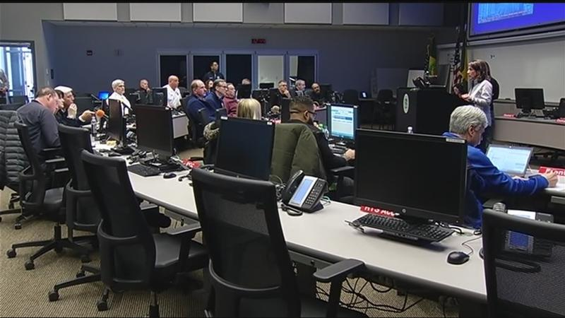 County officials keep watch on windstorm from Emergency Operations Center