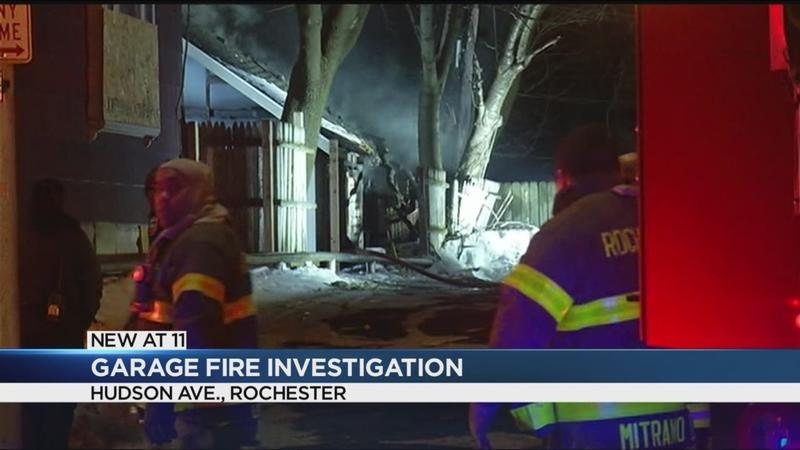 Crews extinguish garage fire on Hudson Avenue