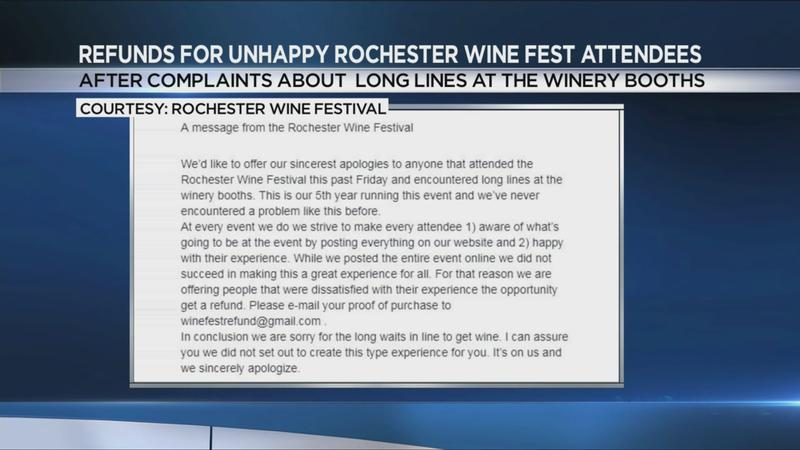 Rochester Wine Festival offers apology, full refunds