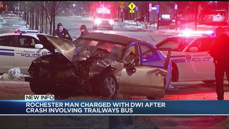 Rochester man charged with DWI after crash involving Trailways bus