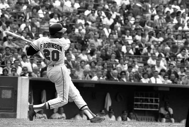 FILE - This is a May 19, 1966, file photo showing Baltimore Orioles' Frank Robinson at bat.