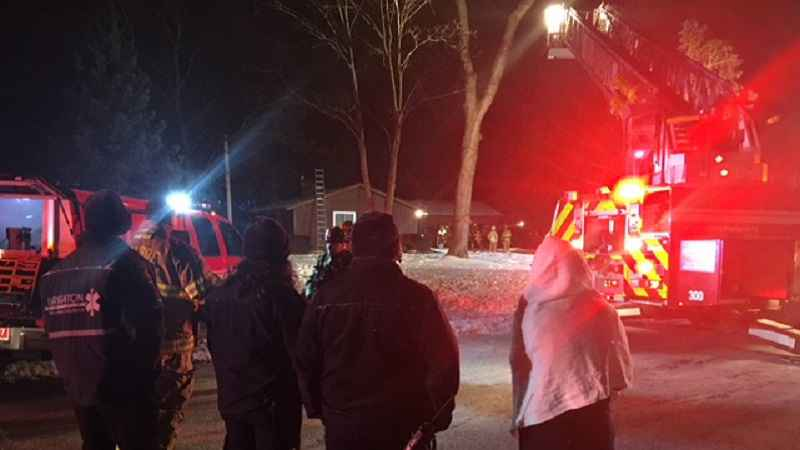 First responders work house fire in Brighton