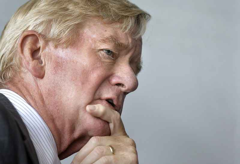 FILE - In this Sept. 8, 2016, file photo, former Massachusetts Republican Gov. William Weld takes questions from members of the media on the campus of Emerson College in Boston.