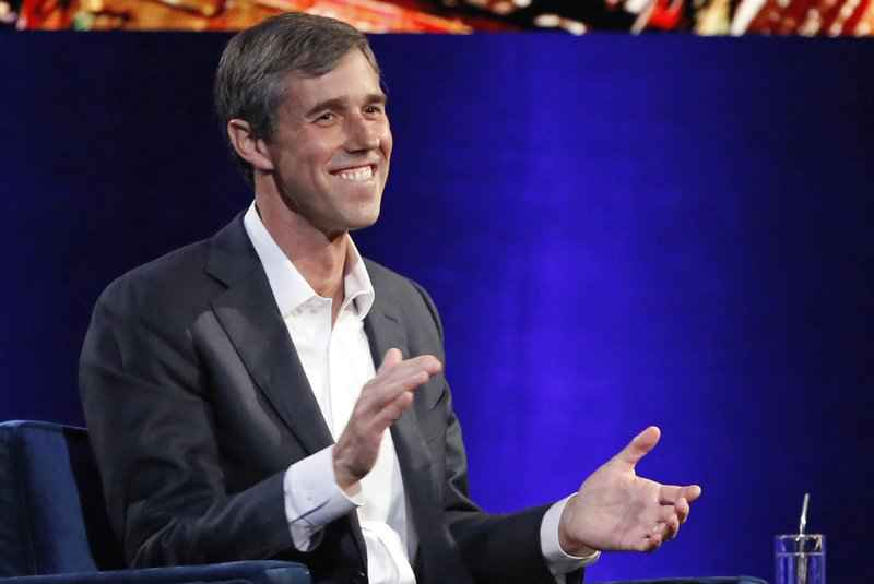 FILE - In this Feb. 5, 2019, photo, former Democratic Texas congressman Beto O'Rourke laughs as he is interviewed by Oprah Winfrey in New York.