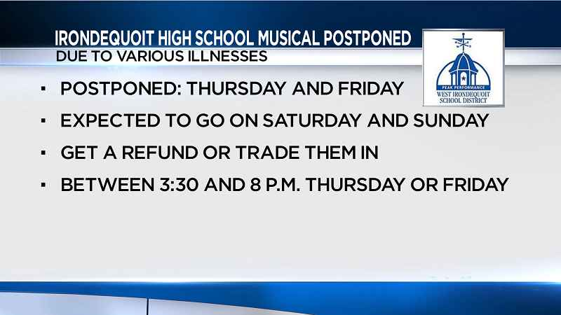 Irondequoit High School musical postponed due to various illnesses