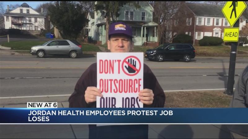 Union members protest outside of Jordan Health Care board meeting