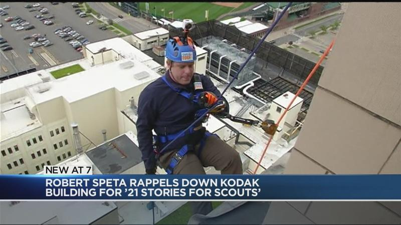 WATCH: News10NBC's Robert Speta rappels 21 Stories for Scouts