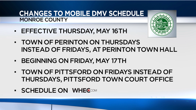 Eastside Mobile DMV schedule to change impacting Pittsford, Perinton