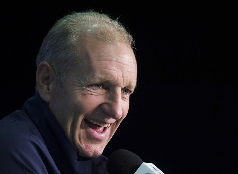 FILE - In this Sept. 28, 2016, file photo, Europe coach Ralph Krueger speaks during a news conference at the World Cup of Hockey in Toronto.