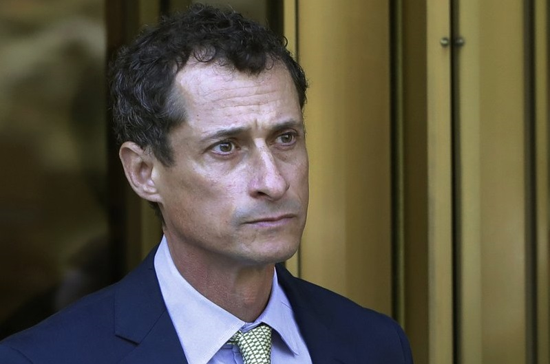 FILE - In this Sept. 25, 2017 file photo, former Congressman Anthony Weiner leaves federal court following his sentencing in New York.