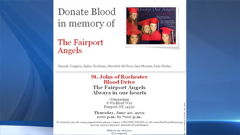 "Blood drive in honor of Fairport's ""Angels"" set for June 20"
