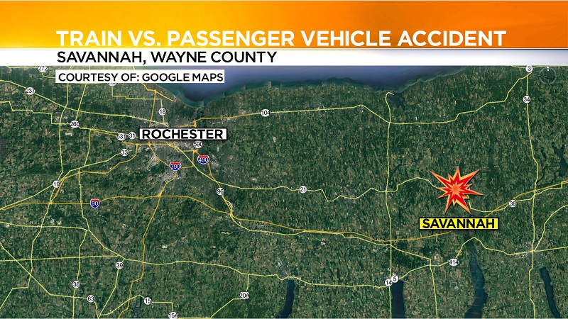 Amtrak train hits empty car in Wayne County