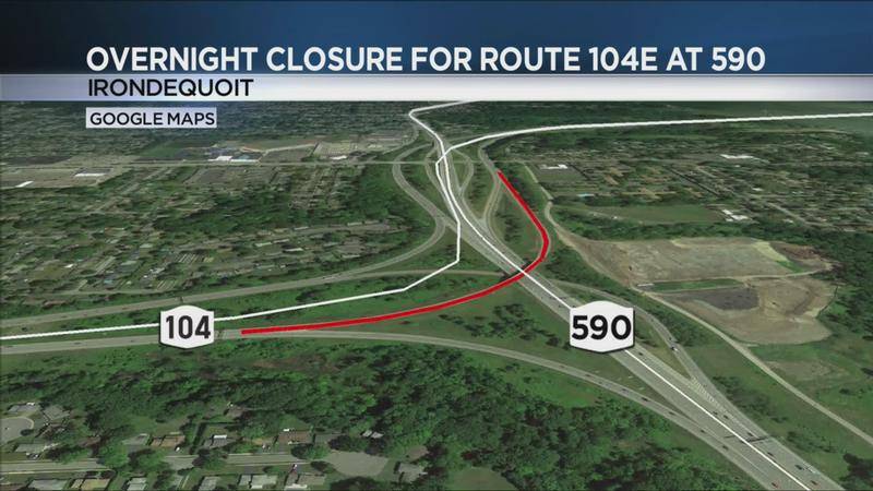 Route 104 Eastbound Bridge to close on Wednesday night for maintenance