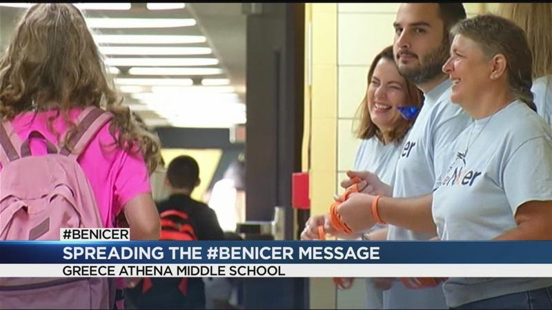Volunteers spread the #BeNicer message at Greece Athena