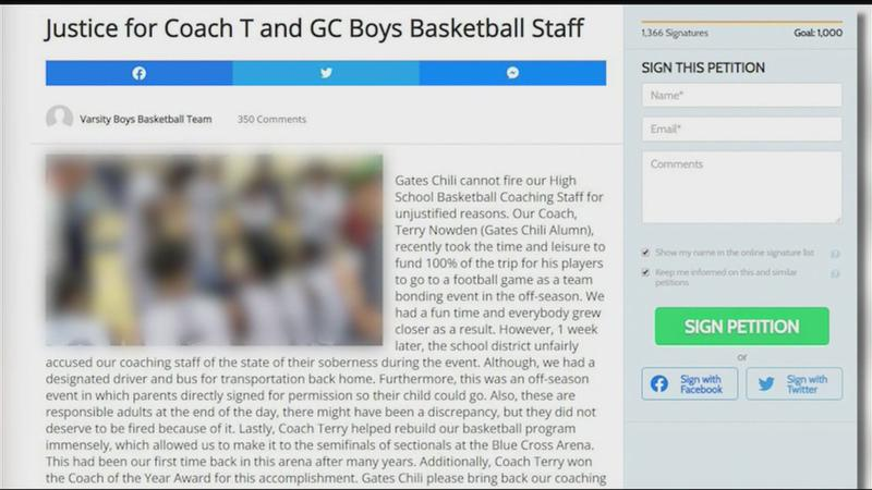 A petition that parents and students started to try to get Nowden reappointed as head coach.