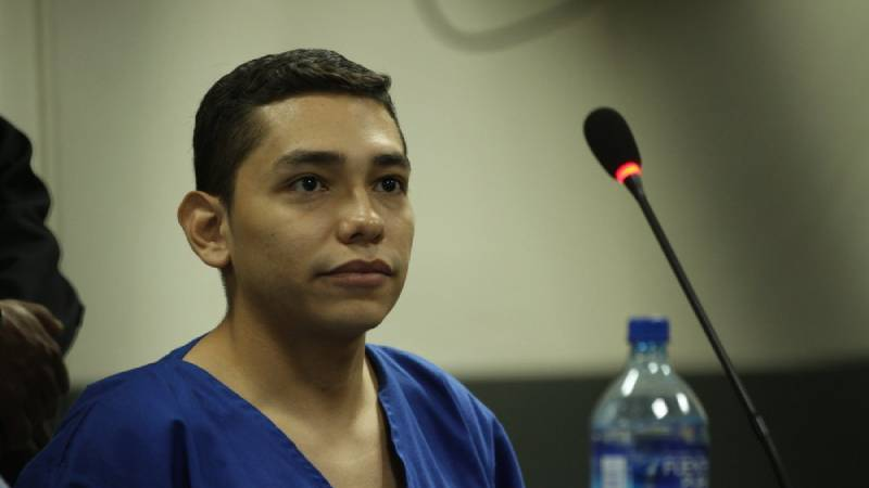 In this Oct. 11, 2019 file photo, Orlando Tercero appears in court during his trial in Managua, Nicaragua. Moreno is accused of killing 22-year-old U.S. nursing student Haley Anderson in 2018. The court proceeding is taking place in Managua, Nicaragua, with a Nicaraguan prosecutor and a Nicaraguan judge applying that country's law. Witnesses have been testifying from Binghamton via streaming video.