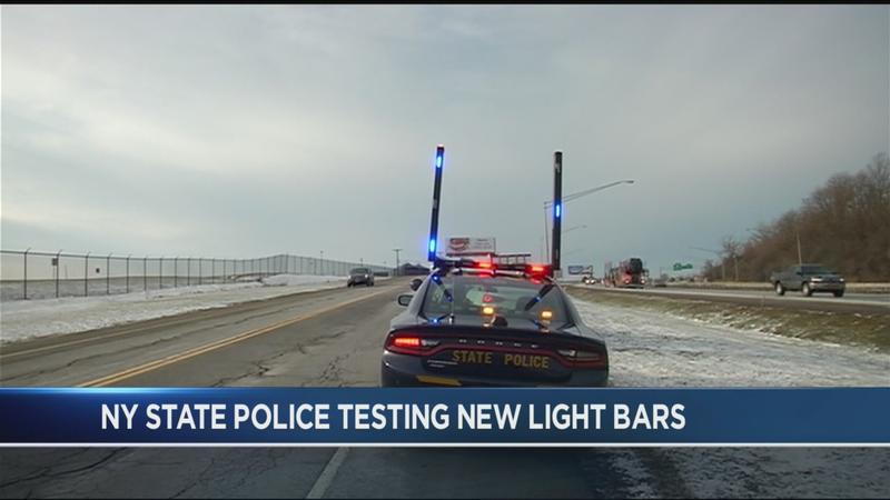 New York State Police testing vertical light bars on cruisers