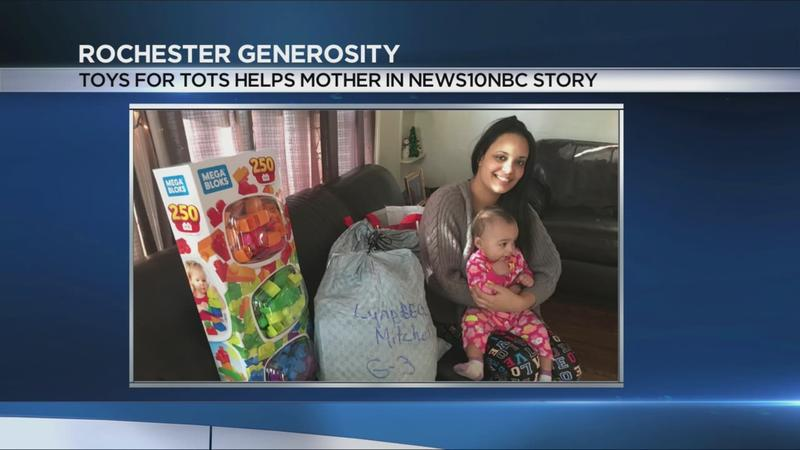 Toys for Tots helps mother in News10NBC story