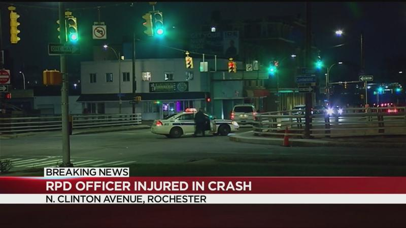 Police officer, civilian injured in crash on North Clinton Avenue