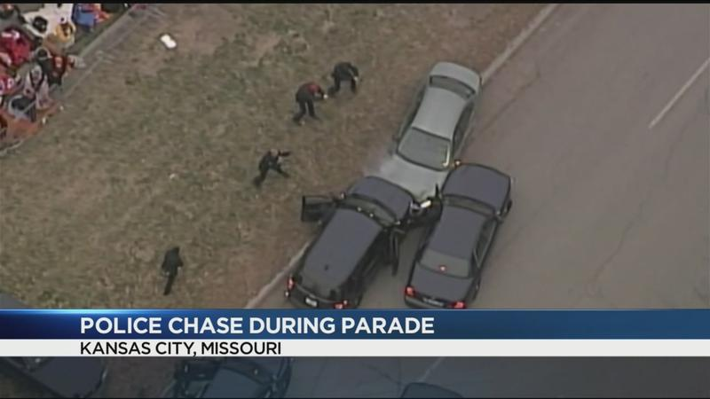 Police chase during Super Bowl parade