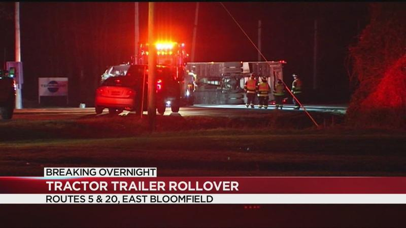 Tractor-trailer rollover crash shuts down 5&20 in Ontario County