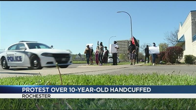 Protesters rally over incident where 10-year-old was handcuffed
