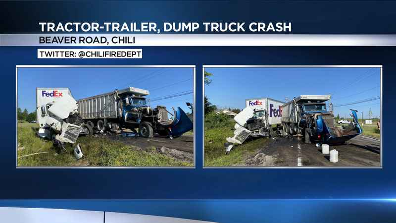 2 drivers injured after dump truck, tractor-trailer crash