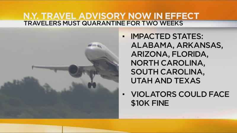 NY, NJ, Conn. impose 14-day quarantine on travelers from states with high COVID-19 rates