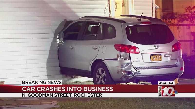 Police investigate after car crashes into Rochester business