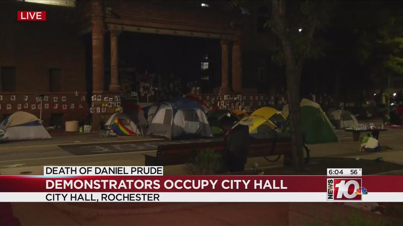 Demonstrators continue to occupy City Hall Wednesday morning
