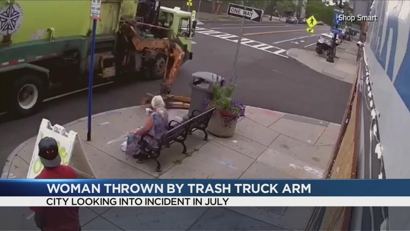 Video of garbage truck mechanical arm throwing woman, bench goes viral