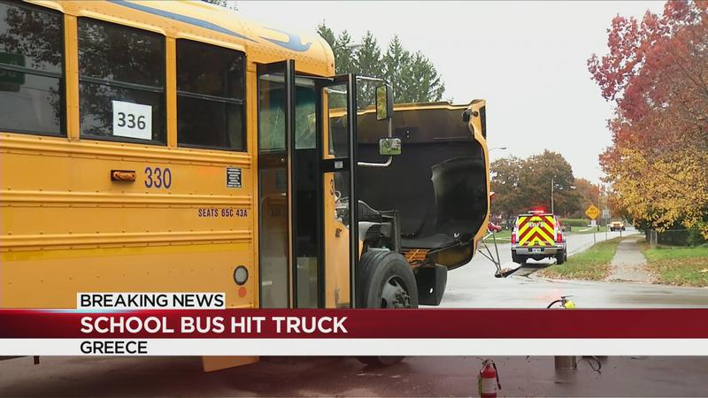 School bus, pickup truck crash in Greece