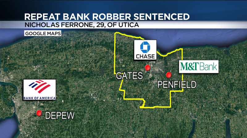 Utica man sentenced for bank robberies in Gates, Penfield