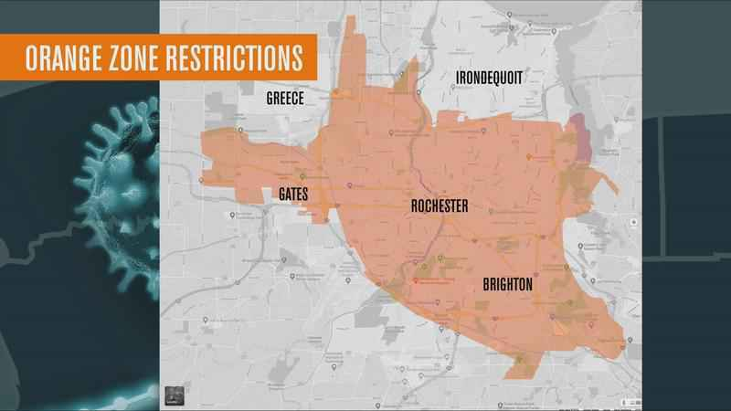 Parts of Monroe County designated as Orange Zone