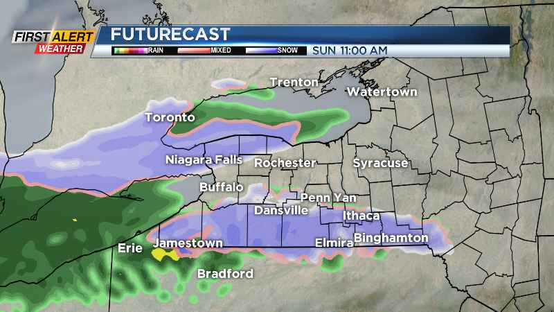 First Alert Weather: Wet snow showers change to rain Sunday