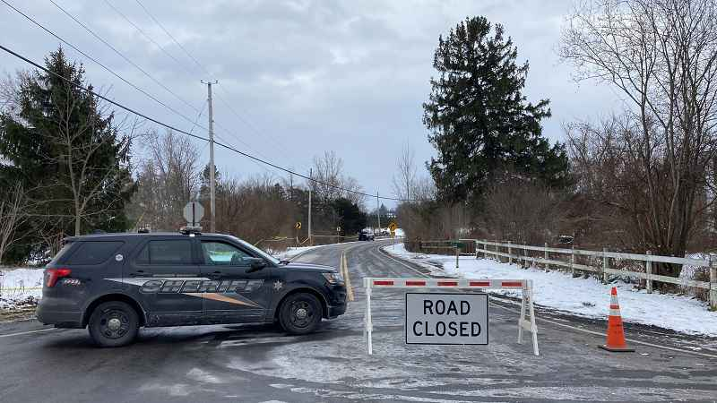 West Bloomfield Road and Cheese Factory Road in Mendon is still blocked off Thursday morning.