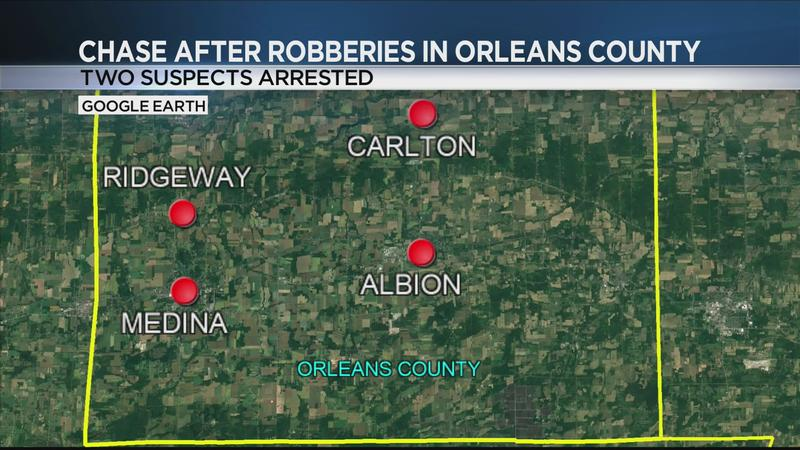 Orleans County Sheriff's Office: 2 arrested for at least 2 robberies, chase where deputy was almost hit